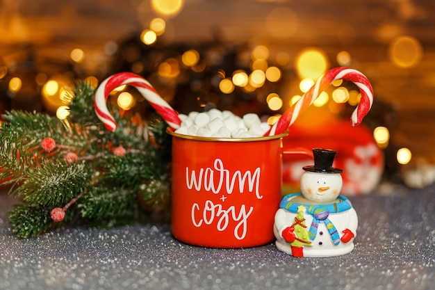 Cozy home atmosphere festive mood hot chocolate with marshmallows