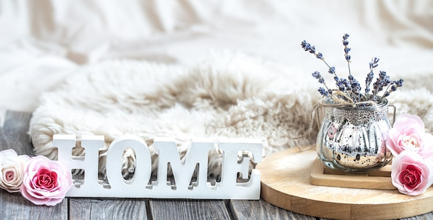 Cozy home composition on wooden table