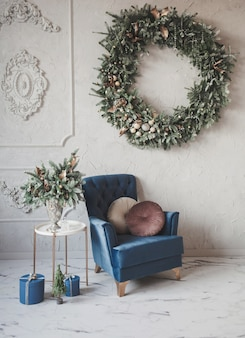 Cozy home decorated for christmas. natural christmas decorations.