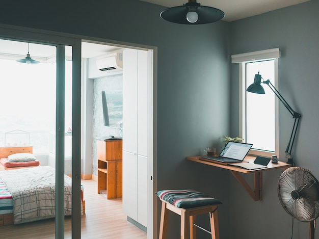 Cozy home office of freelancer in an apartment