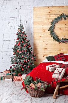 Cozy hygge home red plaid