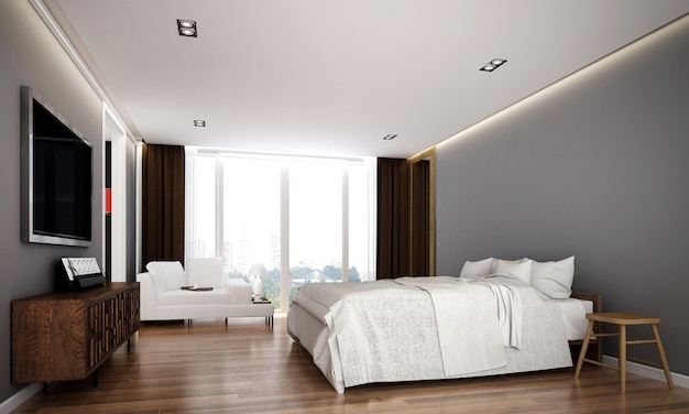 The cozy interior design and mock up furniture of bedroom and empty wall texture background and 3d rendering