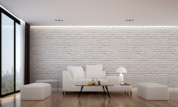 The cozy interior design and mock up furniture of living room and white brick wall texture background and 3d rendering
