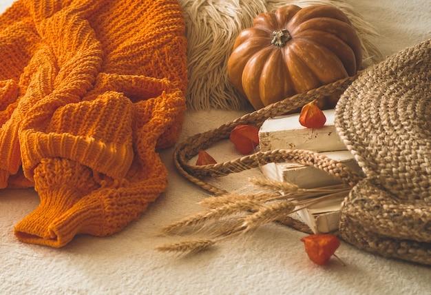 カボチャ、サイサリス、秋の本と読書を備えた白い暖かい格子縞の古い本とヴィンテージのストローバッグを備えた居心地の良いニットの暖かいオレンジ色のセーター。秋の気分。秋冬時間。