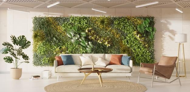 緑の壁の3dレンダリングで居心地の良いリビングルームのインテリア