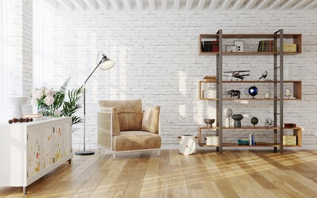 モダンな家具の3dレンダリングを備えた居心地の良いリビングルームのインテリア