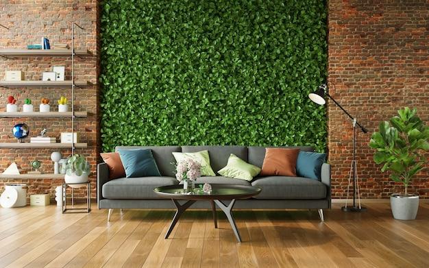 緑の壁とモダンな家具の3dレンダリングを備えた居心地の良いリビングルーム