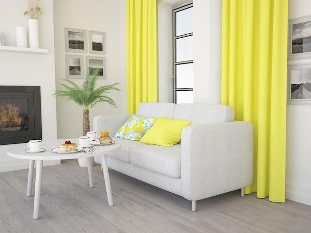 노란색 커튼이있는 아늑한 거실 편안한 소파와 벽난로