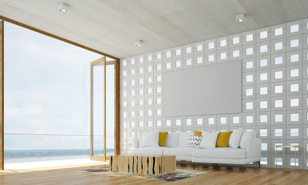 Cozy modern  design of living room interior have sofa,armchair and lamp with concrete pattern wall and sea view