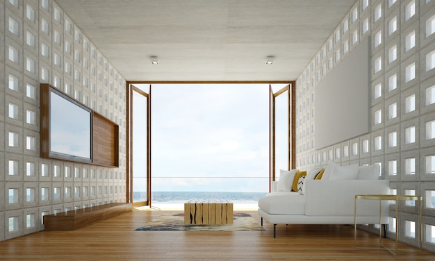 거실 인테리어의 아늑하고 현대적인 디자인에는 콘크리트 패턴 벽과 바다 전망이있는 소파, 안락 의자 및 램프가 있습니다.