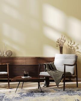 아늑한 현대적인 거실 인테리어는 밝은 갈색 톤, 스칸디나비아 스타일, 빈 벽, 3d 그림으로 조롱합니다.