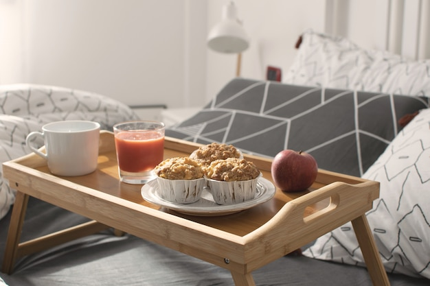 Cozy morning - breakfast in bed
