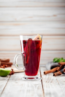 Cozy mulled wine glhwein with cinnamon and apples
