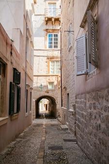 Cozy narrow street in the old town of dubrovnik, croatia