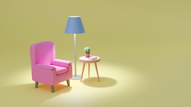 Уютное розовое кресло на желтом столе. журнальный столик с кактусом и книгой, торшер
