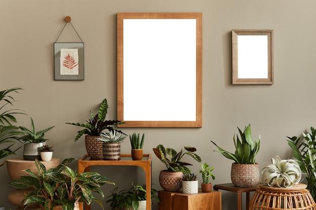 포스터 프레임을 조롱하는 아늑한 식물 애호가 홈 인테리어 디자인 홈 가든 컨셉 템플릿