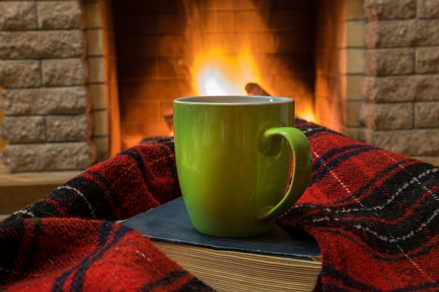 Cozy scene before fireplace with green mug with tea, a book, wool scarf.