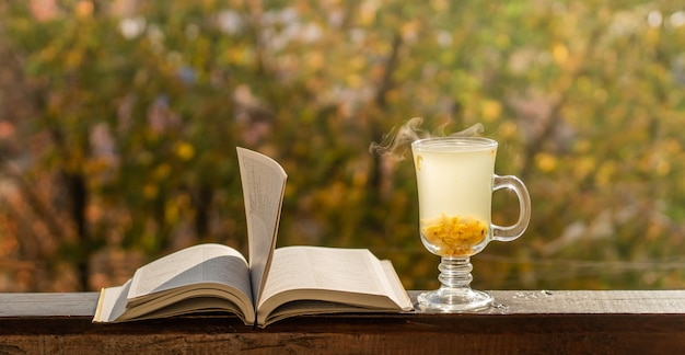 Cozy still life: cup of hot sea buckthorn tea and book bible on vintage windowsill against warm landscape from outside.