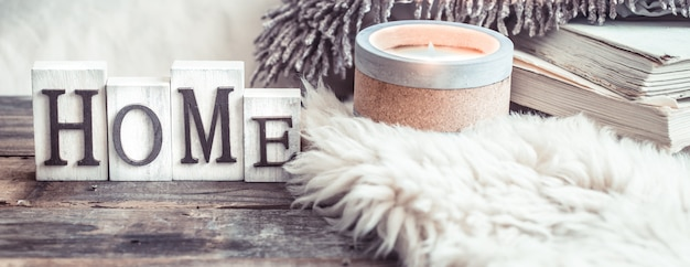 Cozy still life with details in the interior and wooden letters