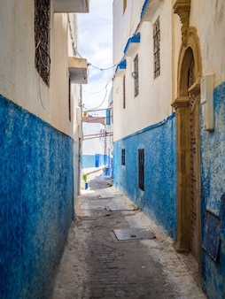 Cozy streets in blue and white on a sunny day in the old city kasbah of the udayas