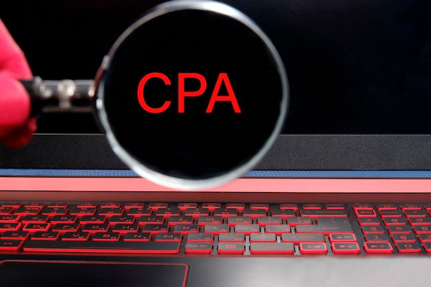 Cpa certified public accountant concept with big word or text. Premium Photo