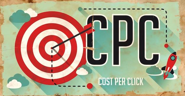 Cpc-클릭당 비용-개념. 긴 그림자가있는 평면 디자인의 오래 된 종이에 포스터.
