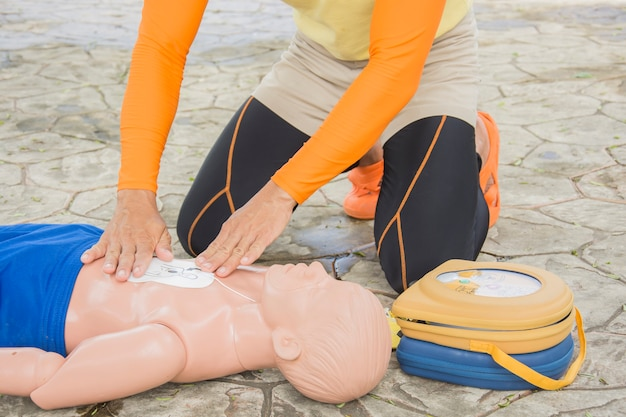 Cpr and aed training victim child drowning