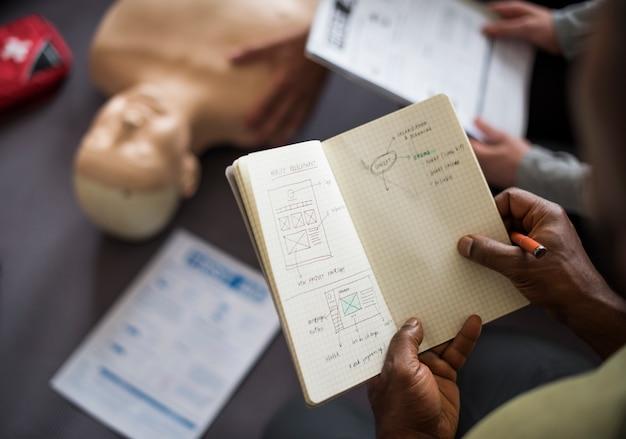 Cpr応急処置トレーニングの概念