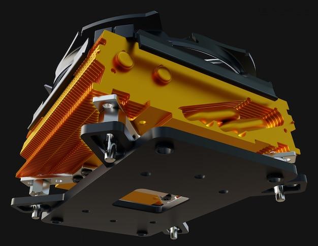 銅製フィン付きヒートシンクとファンを備えたcpuクーラー。 3dレンダリング