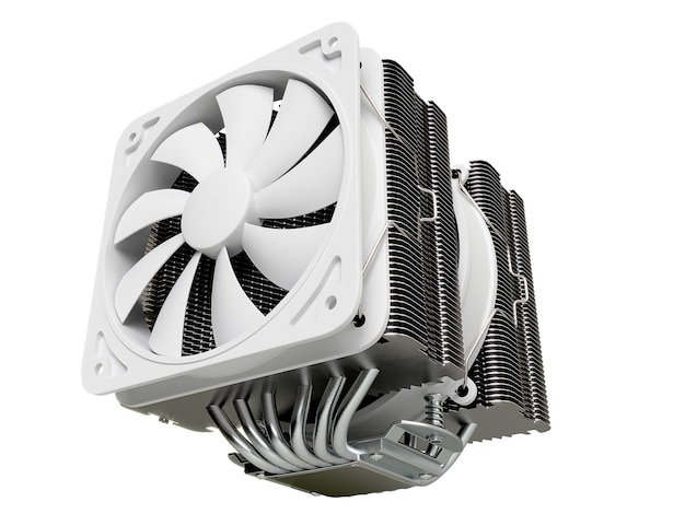 Cpu cooler , heat sink with on isolated background. 3d rendering