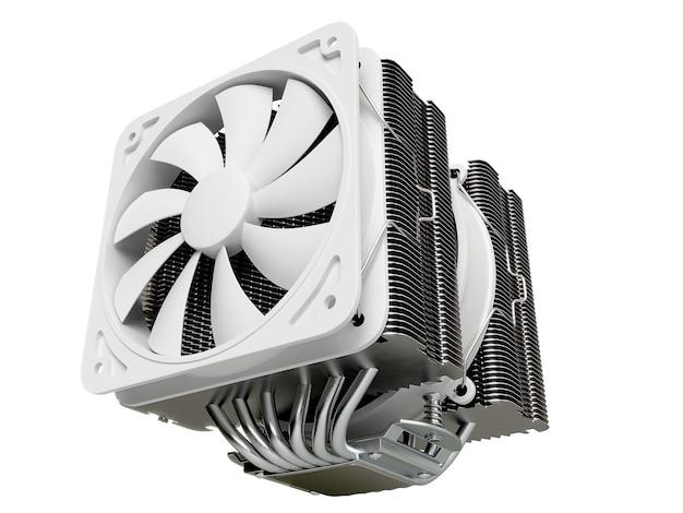 Кулер процессора, радиатор с на изолированном фоне. 3d рендеринг Premium Фотографии