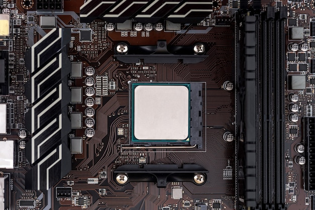 Cpu on motherboard close up, computer theme