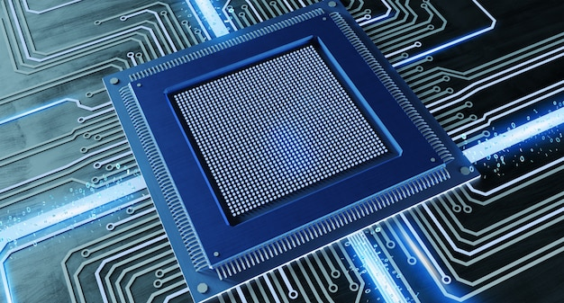 Cpu processor chip and network connection on circuit board - 3d render