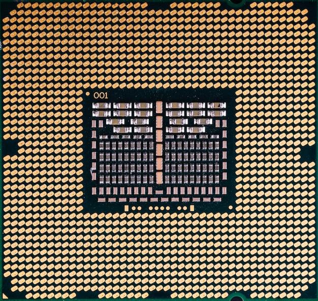 Конец текстуры компьютера обломока процессора cpu вверх, макрос