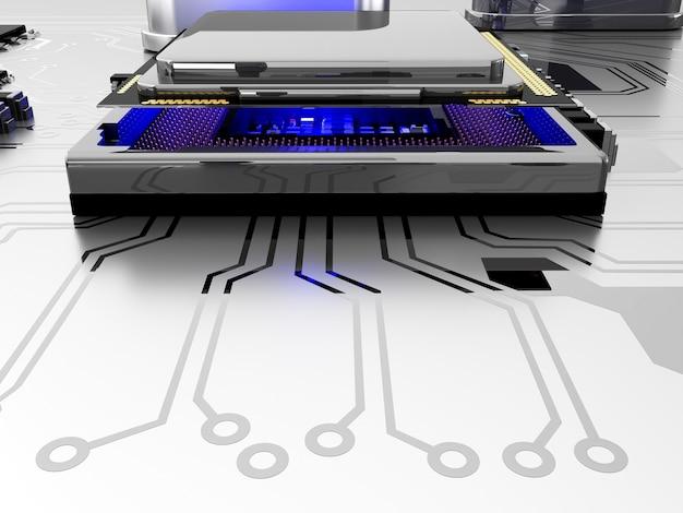 回路基板とcpu。技術コンピュータのコンセプト