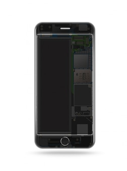 透明な携帯電話、チップ、マザーボード、プロセッサ、cpu、詳細