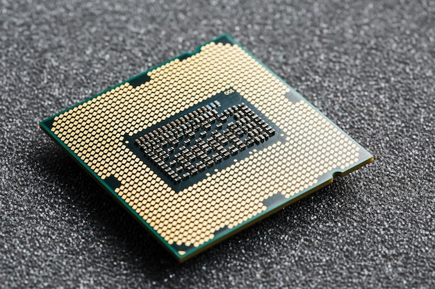 Cpuチッププロセッサのクローズアップ