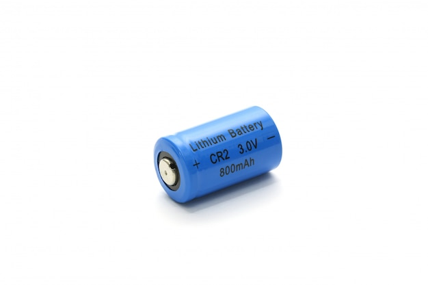 Cr2 lithium battery isolated on white