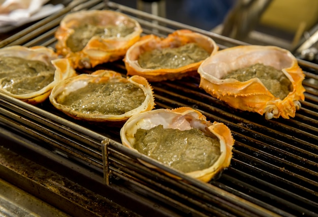 Crab boiled grill or kani miso korasho in japanese