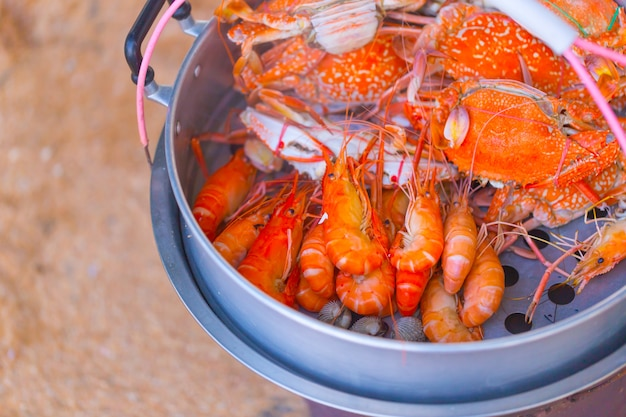 Crab and shrimp steamed sell around sea beach, pattaya chonburi thailand.