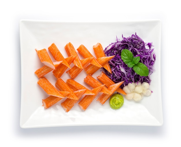 Crab stick set appetizer dish with wasabi decorate