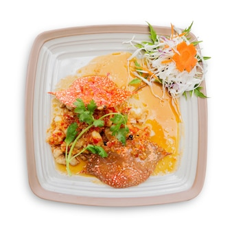 Crab with sweet and sour sauce thai food isolated on white background. clipping path included.