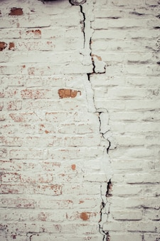 Crack on the brick wall. accident in the house.
