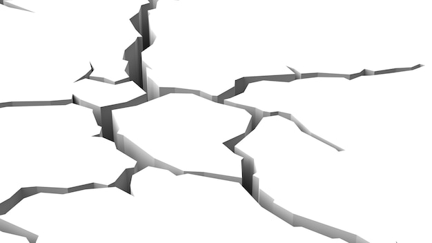 Crack in white surface isolated