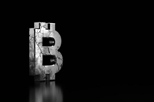 黒のひびの入ったビットコインサイン。 3dレンダリング。