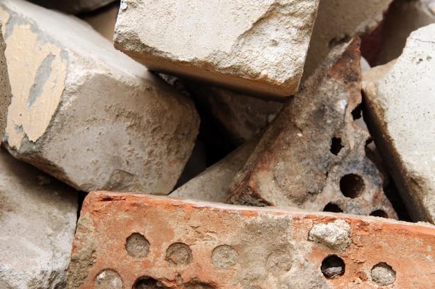 Cracked broken bricks