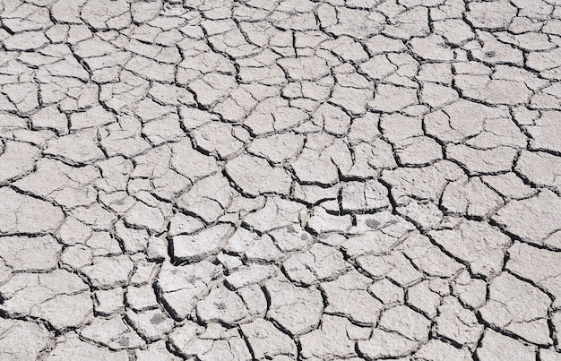 Cracked by drought the ground, view from above