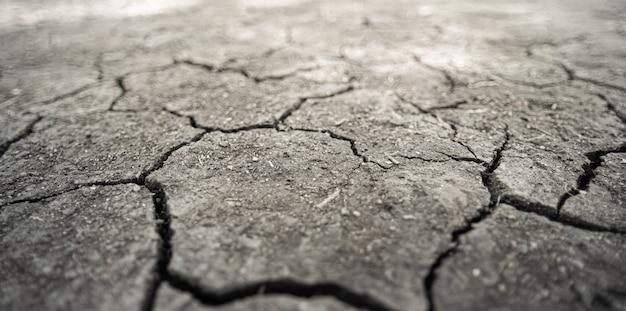 ひび割れた粘土質地、地球温暖化の影響
