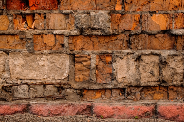Cracked concrete vintage brick wall detailed background