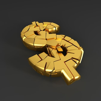 Cracked dollar sign. 3d rendering.